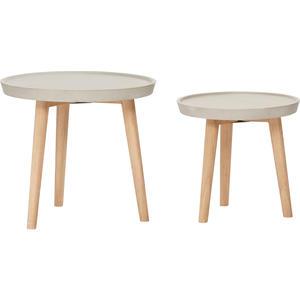 Tisch mit Holzbeinen und Betontischplatte, HÜBSCH-M Ø50xh45cm