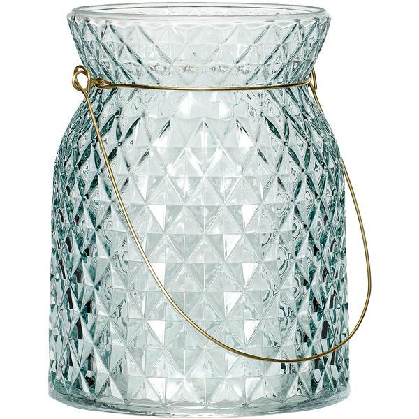 Hängeglas, HÜBSCH-blaugrau-L - Ø12xh15cm