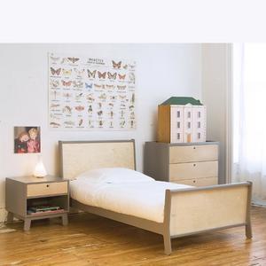 90x200cm Sparrow Kinderbett TWIN /Birke/grau