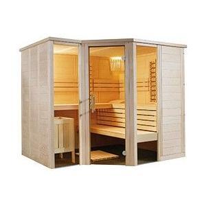 """Saunakabine massive Fichte Sauna Arktis Set Inneneinrichtung """"Prestige"""" aus Linde 2,34 x 2,06 x 2,04"""