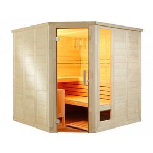 Saunakabine Komfort Corner aus massiver Fichte 206x206x204cm