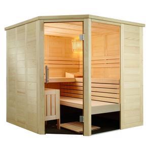 Sauna hochwertig aus Fichte Alaska Corner Infra+ Exclusiv Set 206x206x204cm
