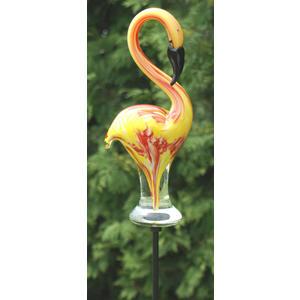 """Gartenstab Glas """" Pelikan """" gelb-orange"""