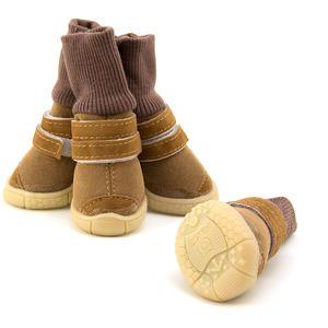Winter Boots Hundeschuhe, braun-beige, wasserfest, leder