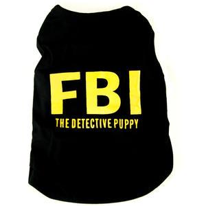 Hundeshirt FBI, schwarz mit gelber Schrift