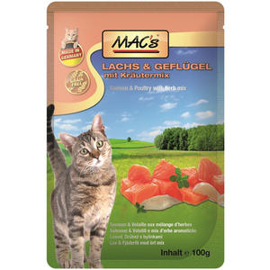 Macs Cat, Katzenfutter Lachs und Geflügel 100g