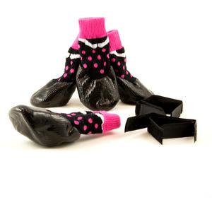 Hundesocken, Hundeschuhe PET BOOTS schwarz - rosa