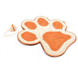 Kratzmatte PFOTE aus Sisal, orange/weiß mit Spielball 40x36cm