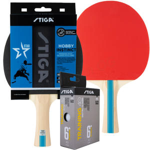 2x Tischtennisschläger Hobby Instinct & Trainingsbälle (6Stk./Pkg.)