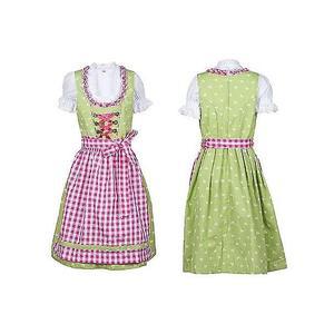 Kinder Dirndl Kleid Kinder mit Schürze und Bluse grün pink