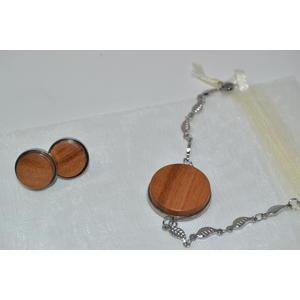Holz Schmuck Set Ohrstecker Armband Armkette Ohrringe Ohranhänger Kirsche Ohrschmuck Schmuck handmade Unikat Geschenkset Edelstahl