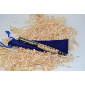 Holz Drehkugelschreiber Kugelschreiber gestockte Hainbuche gun metallic Unikat Geschenk handmade