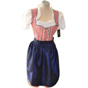Stoiber Trachten Dirndl Kleid Damen rot blau kariert Oktoberfest Dirndl Kleid