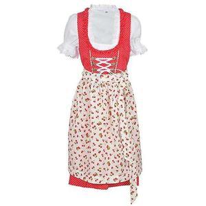 Kinder Dirndl Kleid Kinder mit Schürze und Bluse rot kirschrot