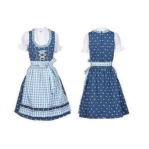 Kinder Dirndl Kleid Kinder mit Schürze und Bluse blau