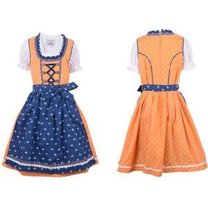 Kinder Dirndl Kleid Kinder mit Schürze und Bluse blau orange