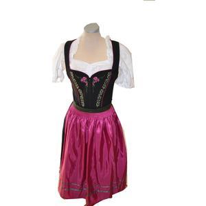 Trachten Dirndl Kleid Damen schwarz pink mit Schürze