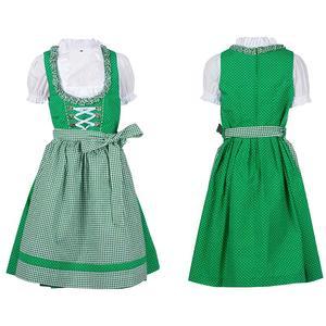 Kinder Dirndl Kleid Kinder mit Schürze und Bluse dunkelgrün