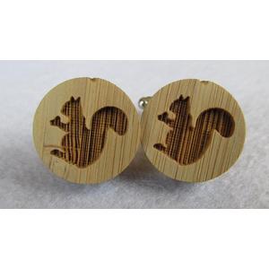 Manschettenknöpfe aus Holz Eichhörnchen Hochzeit Manschetten Cuff Links Anzug Hemd