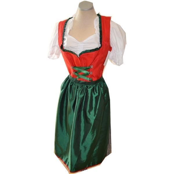 Trachten Dirndl Kleid Damen rot grün Oktoberfest