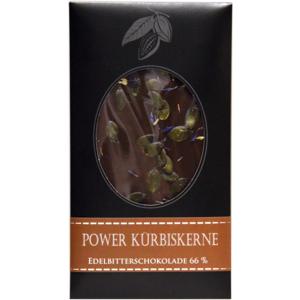 "Schokolade""Power Kürbiskerne Edelbitterschokolade 66%"" Edelschokolade, 100g"