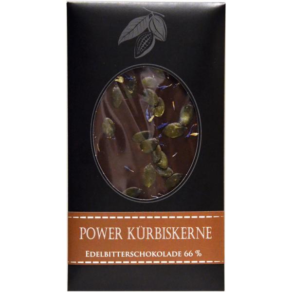 "Schokolade""Power Kürbiskerne Edelbitterschokolade 66%"" Edelschokolade, 100g Likörmanufaktur Posch-Kindlhofer"