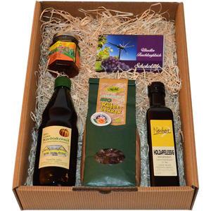 Geschenkbox Käferbohnen, Holzapfelessig, Kürbiskernöl, Löwenzahnhonig, Uhudler Schokolade.