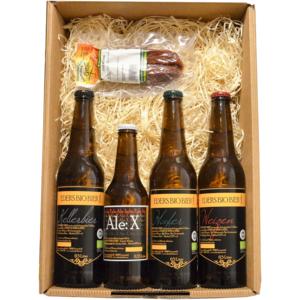 Geschenk Box Eders Bio-Bier Box, 1 Paar Chili- Würstel, 4 verschiedene Biersorten jenach Verfügbarkeit