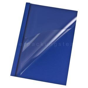 25 Stk Thermobindemappen A4, 6mm für 60 Blatt, Lederoptik dunkelblau