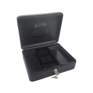 Geldkassette aus robustem Stahl mit herausnehmbaren Münzfächern 300 mm, schwarz