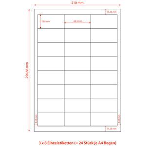 2400 Stk Etiketten Labels selbstklebend weiß 64.6 x 33.8mm auf DIN A4