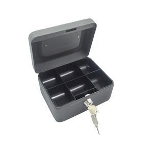 Geldkassette aus robustem Stahl mit herausnehmb. Münzfächern 150 mm, dunkelgrau