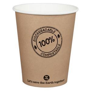 250 Stk BIO Kartonbecher Kaffeebecher CoffeeToGo PLA bis 100°C, 200ml, Ø8cm