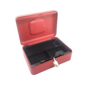 Geldkassette aus robustem Stahl mit herausnehmbaren Münzfächern 250 mm, rot
