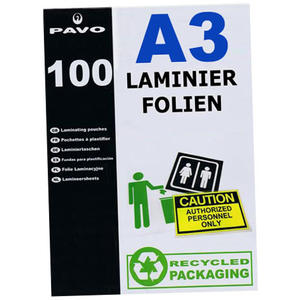 100 Stk PAVO Laminierfolien A3, 303 x 426mm, 2x 75/80 mic, Hochglanz