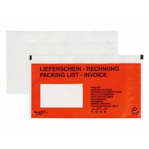 250 Stk DOCUFIX Dokumententaschen *Lieferschein/Rechnung*, DIN Lang 240x115mm