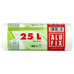 40 Stk ALUFIX Müllsäcke 25 L, HDPE 45x50 cm 11my, weiß
