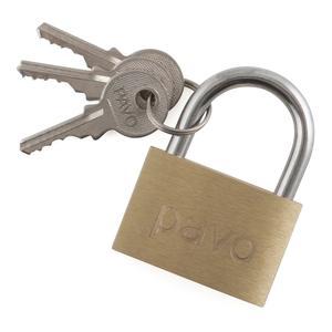 3 Schlüssel Schlüsselschloss, Gepäckschloss, Vorhängeschloss 40mm aus Messing