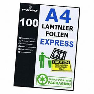 100 Stk PAVO EXPRESS-Laminierfolien A4, 216 x 303mm, 2x 75/80 mic