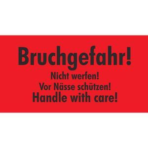 1000 Stk Hinweisetiketten rot BRUCHGEFAHR/NICHT WERFEN/NÄSSE SCHÜTZEN 145x76mm