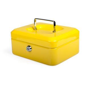 Geldkassette aus robustem Stahl mit herausnehmbaren Münzfächern 200 mm, gelb