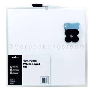Whiteboard Magnettafel Memoboard, 40 x 40cm, inkl. 4 Magnete, weiß mit Alurahmen