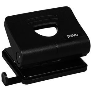 PAVO Profi Bürolocher mit Anschlagschiene für 20 Blatt robustes Gehäuse, schwarz