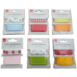 Geschenkbänder Geschenkband diverse Farben und Muster je 2 Meter, 12 Stk.