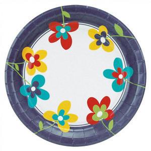 """100 Stk Party-Pappteller rund Ø 23cm, bunt - Design """"Summer Flowers"""""""