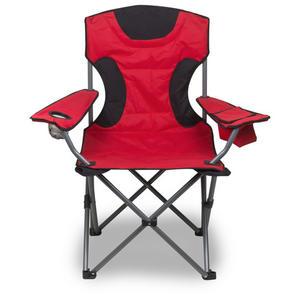 Campingstuhl Klappstuhl rot/schw. bis 120kg inkl. Kühltasche 92x60x45cm