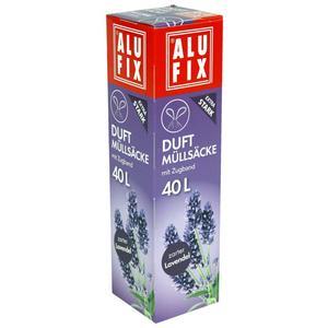 12 Stk ALUFIX Duft Müllsäcke mit Zugband 40 L, 53x60cm zarter Lavendel