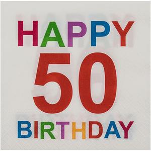 20 Stk Motivservietten 3-lagig, 33 x 33 cm, 50 - Happy Birthday, bunt