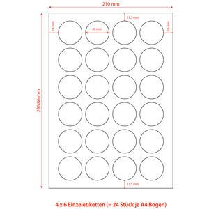 2400 Stk Etiketten Labels selbstklebend weiß rund Durchmesser: 40mm auf DIN A4