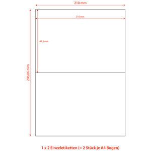 200 Stk Etiketten Labels selbstklebend weiß 210 x 148.5mm auf DIN A4